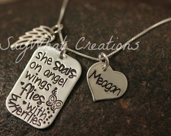 """Angel/Loss/Remembrance Hand Stamped Necklace Sterling Silver """"she soars on angel wings & flies with butterflies"""""""