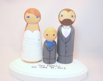 Custom Peg Doll Wedding Cake Toppers w/ Child and Pedestal - Hand Painted Wood Peg Cake Toppers
