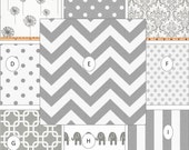 Window Panels Drapes Gray White Chevron Elephants Dots