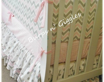 3 Piece Baby Girl Crib Bedding Set in Pink Gray Chevron