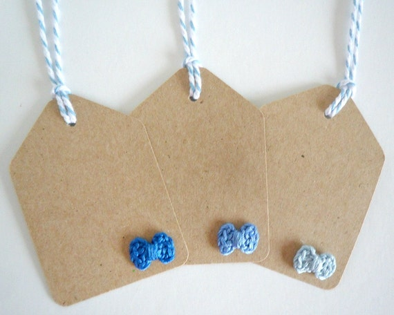 Blue Ombre Crochet Bow Gift Tags with Blue Baker's Twine / Set of 6