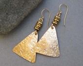 Gold Earrings Hammered Brass Earrings Modern Greek Jewelry