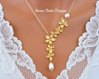 Bridal Pearl Necklace Gold Orchid Jewelry Gold Jewellery AZALEA Flower Bridesmaid Gift Wedding Jewelry