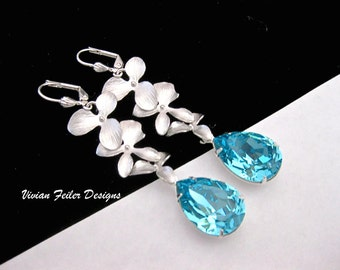 TEAL Blue Earrings Orchid Flower Teal Wedding Jewelry Bridesmaid Gift Prom