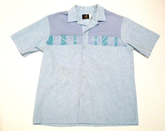 Hawaiian Shirt Vintage Iolani Tiki Shirt Mens Tropical Shirt  Luau, pool party Bamboo Leaf Tribal Design 1960s 1970s