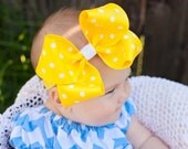 Baby Headband, Set of 4 XXL Loopy Polka Dot Boutique Baby Headband Bow,  ANY color YOU choose,infant headband, baby girl, Kinley Kate, Baby