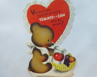 1950s Vintage Valentine card die cut teddy bear with tomato can and fruit