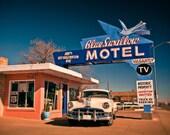 Blue Swallow Motel Vintage Neon Sign - Route 66 - Tucumcari New Mexico - Road Trip Inspired Decor - Neon Type - Fine Art Photography
