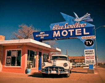 Blue Swallow Motel Vintage Neon Sign - Route 66 - Tucumcari New Mexico - Road Trip Inspired Decor - Neon Type - Fine Art Photography