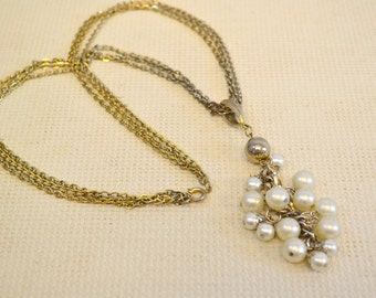 1960s Pearl Cluster and Chain Necklace