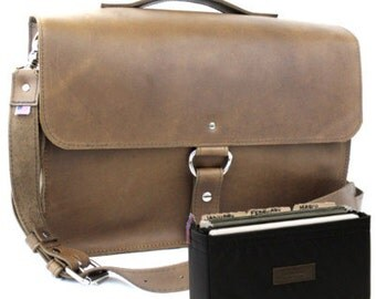 """14"""" Brown Rockport Midtown Leather Briefcase - Made in America"""