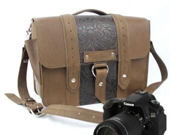 "15"" Brown and Brown Paisley Ashbury Sonoma Leather Camera Bag"
