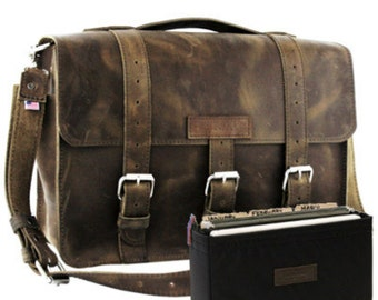 "15"" Distressed Tan Belmar Buckhorn Leather Briefcase - Made in America"