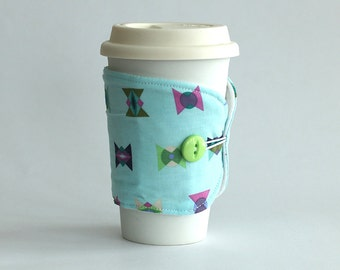 Insulated Coffee Cozy - Geometric Purple Blue Turquoise - Ready to Ship