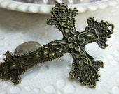 1-XL Floral Cross Charm Pendant 50mm X 68mm Antique Gold or Antique Silver