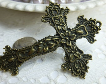 Floral Cross Charm Floral Cross Pendant 50mm X 68mm Antique Gold or Antique Tibetan Silver/ Quantity 1