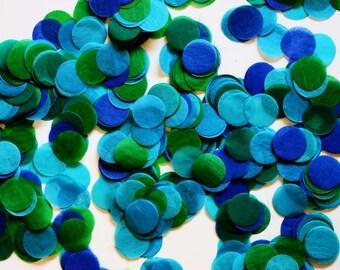 """Tissue Confetti - Blue Green Confetti - 1"""" Circle Confetti - Paper Confetti"""