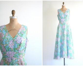 pastel floral print 60s maxi dress - vintage 1960s mod dress / Aqua Blue - 60s prom / mod vintage wedding - retro bridesmaid