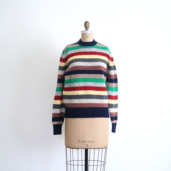 vintage striped sweater - crewneck  / Preppy Handbook  - shetland / vintage 80's