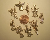 Lot of 25 ALL ANGELS Golden-Colored Milagros