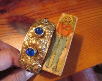 Beguiling 1930's Bezel-Set SAPPHIRE/Cobalt BLUE Rhinestones, Brass Flowers, Embossed and Etched Hinged Vintage BANGLE/Clamper Bracelet