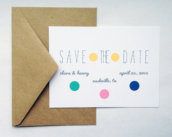 Wedding Save the Date in White/Recycled Kraft -- The Polka -- Wedding Save the Date Customizable Set