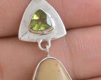 Picture Jasper Garnet Peridot 925 Sterling Silver Jewelry Pendant