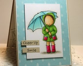 Hand Stamped Greeting Card - Cheer Up!