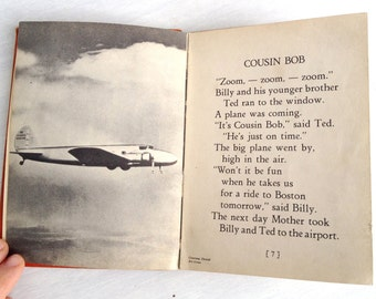 Billy and Ted in the Air, vintage 1935 Whitman children's book of airplanes, commercial aviation history, 1930s, Boeing 247, orange, black