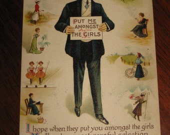 Put Me Amongst The Girls Postcard Dated 1910 One Cent Stamp Affixed on Postcard Free Shipping