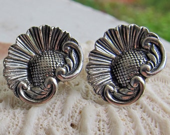 Sterling Silver Art Nouveau Style Screw Back Earrings
