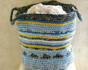 Big laundry basket upcycled fabric tapestry crochet big toy basket in blue, white and yellow with comfortable carrying handles tagt team