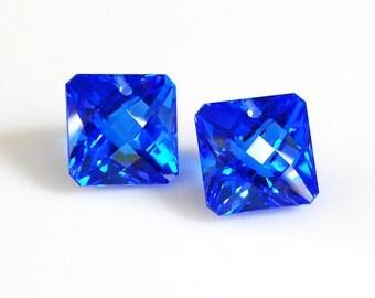 Radiant Cut Blue Topaz Focal, Radiant Cut Blue Topaz Briolette, Square Cut Blue Topaz Focal - 1 Pair (14mm, 29 tcw)