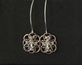 Sterling silver earrings.Crystal earrings.Sterling silver long bridal earrings. Game of Thrones style medieval jewellery.