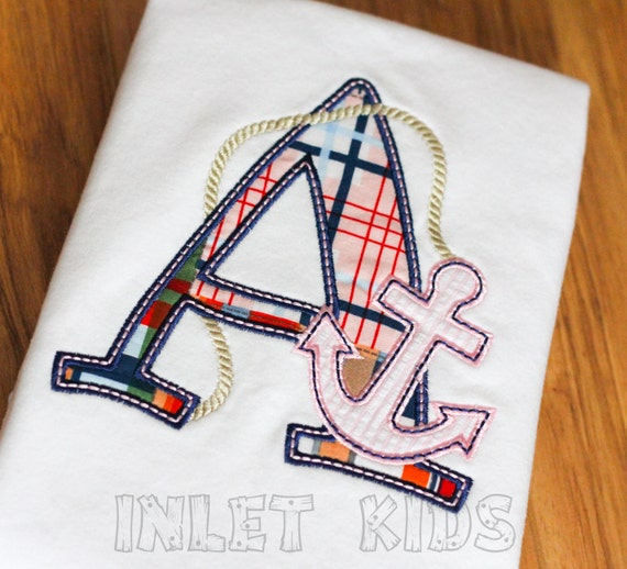 Girls Personalized Nautical Anchor Applique Initial Shirt -- Long or short sleeve