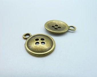 30pcs 14mm Antique Bronze Mini Button Charm Pendant c317