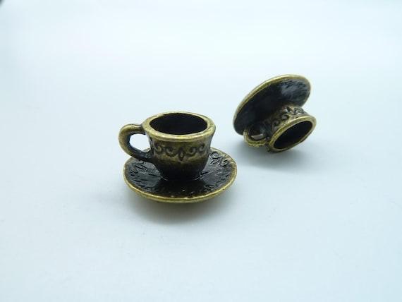 15pcs 9x15mm Antique Bronze Lovely 3D Smaller Coffee Cup Charm Pendant c1521