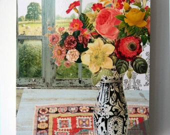 Original Art Collage Print Still Life Flowers Country Chic