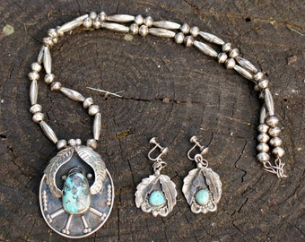 Native American Squash Blossom Necklace Earrings Set