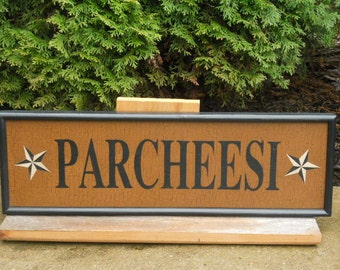 Parcheesi, Game Board, Sign, Hand Painted, Folk Art, Primitive, Game Boards