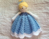Cinderella Inspired Lovey/ Security Blanket/ Soft Toy Doll/ Plush Toy/ Stuffed Toy Doll/ Amigurumi Doll/ Baby Doll-  MADE TO ORDER