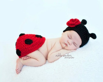 Little Miss Ladybug Beanie and Tushy Topper Available in Two Sizes- MADE TO ORDER