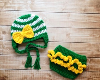 Oregon Ducks Inspired Stripe Big Bow Beanie and Matching Diaper Cover Available in Newborn to 24 Month Size- MADE TO ORDER