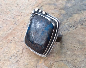 Azurite Sterling Silver Cocktail Accent Ring Size 9.5, gift, anniversary, birthday, under100