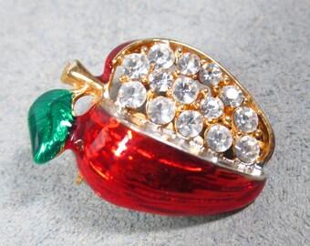 "Vintage ""RED DELICIOUS"" Apple Brooch, Enamel and Clear Rhinestone Apple Brooch"