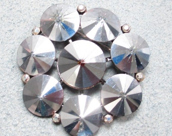 Stunning Earlier Signed WEISS Vintage Brooch Pin Flower Silver Tone Rhinestone Cluster