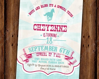 Cowgirl Bling Invitation - Cowgirls, Horses, and Hoedowns Birthday Invitation - PRINTABLE or Printed Invitations