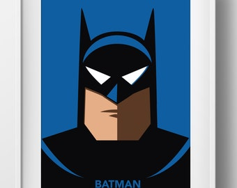 Batman The Animated Series Batman Poster Print Superhero Kids Wall Art Decor Nursery Comic Book Superheroes Super Hero Bruce Wayne