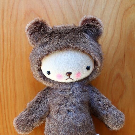 Kawaii Teddy Bear Plushie Speckled Brown Faux Rabbit Fur Large FINBAR