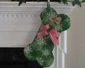 Dog Bone Stocking -  LARGE - Personalized - Fluffy Snowflakes on Green